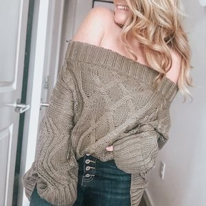 Sweaters - Joanne Cable Knit Sweater | Olive